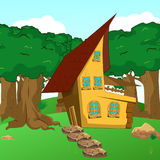Historieta rural Forest Cabin Landscape stock de ilustración
