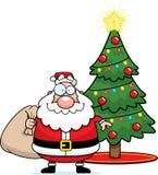 Historieta Santa Claus Christmas Tree Fotos de archivo libres de regalías