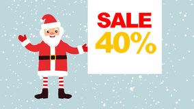 Historieta Santa Claus contra un fondo de la nieve que cae con una bandera vacía para su texto bandera con la venta el 40% stock de ilustración