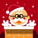 Historieta Santa Claus del vector en la chimenea en fondo rojo con Fotos de archivo