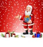 Historieta Santa Claus que sostiene una caja de regalo Imagen de archivo