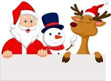 Historieta Santa Claus, reno y muñeco de nieve con la muestra en blanco Imagen de archivo