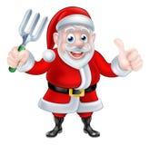 Historieta Santa Holding Fork y del donante pulgares para arriba libre illustration