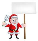 Historieta Santa Holding Fork y muestra stock de ilustración
