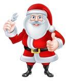 Historieta Santa Holding una llave inglesa stock de ilustración