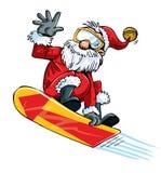 Historieta Santa que hace un salto en un snowboard Imágenes de archivo libres de regalías