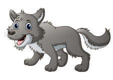 Historieta sonriente del lobo ilustración del vector