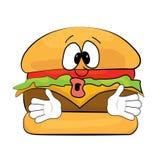 Historieta sorprendida de la hamburguesa Fotos de archivo libres de regalías