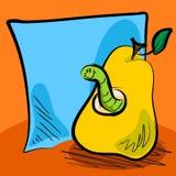 Historieta sucia del gusano dentro de una pera con la nota pegajosa Fotografía de archivo