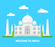 Historieta Taj Mahal Symbol del concepto del turismo del fondo de la India Vector libre illustration
