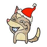 historieta texturizada de un lobo hambriento que lleva el sombrero de santa libre illustration
