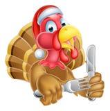 Historieta Turquía en la Navidad Santa Hat Holding Knife y la bifurcación ilustración del vector
