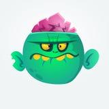Historieta verde del zombi Carácter de Halloween Ilustración del vector Imagen de archivo