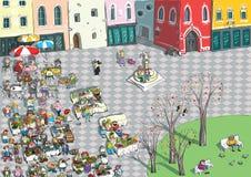 Historieta vibrante del cuadrado de ciudad stock de ilustración