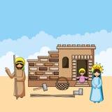Historietas cristianas de la familia santa stock de ilustración
