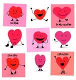 Historietas de los corazones del día de tarjetas del día de San Valentín Fotos de archivo libres de regalías