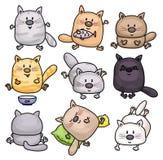 Historietas de los gatos del vector ilustración del vector