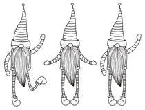 Historietas de los gnomos del vector, siluetas negras libre illustration