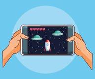 Historietas de los juegos de Smartphone ilustración del vector