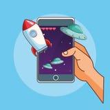 Historietas de los juegos de Smartphone stock de ilustración
