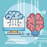 Historietas del concepto de la inteligencia artificial libre illustration