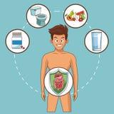 Historietas del dolor de estómago ilustración del vector