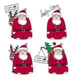 Historietas Santa Claus con los regalos y el reno Fotografía de archivo
