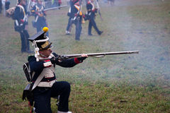 Historii fan w militarnym kostiumu, Austerlitz Zdjęcie Stock