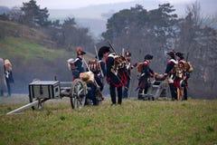 Historii fan w militarnym kostiumu reenacts bitwę Trzy cesarza Zdjęcia Stock