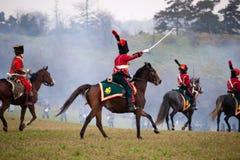 Historii fan w militarnym kostiumu reenacts bitwę Trzy cesarza Zdjęcia Royalty Free