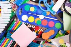 Historique complet d'un assortiment coloré d'école Images libres de droits