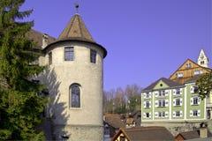 Historisch alte Stadt von Meersburg Stockfotos