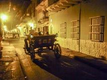 Historisch Centrum van Cartagena bij Nacht Stock Foto