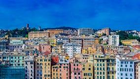 Historisch centrum van Genua, Italië en het Kasteel van D ` Albertis stock afbeeldingen
