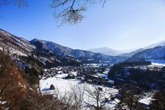 Historisch Dorp van Shirakawago in de winter, Japan Royalty-vrije Stock Fotografie
