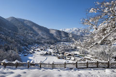 Historisch Dorp van Shirakawago in de winter, Japan Stock Foto