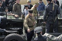 Historisch festival van de Tweede Wereldoorlog in Samara, 26 Juli, 2015 Groep Jung en infanterie van het rode leger op Royalty-vrije Stock Foto's