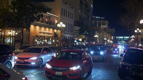 Historisch Gaslamp-Kwart San Diego 's nachts - CALIFORNIË, de V.S. - 18 MAART, 2019 stock video