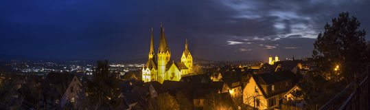 Historisch gelnhausen hochauflösendes Panorama Deutschlands nachts Lizenzfreie Stockfotografie