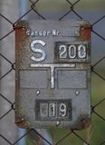 Historisch Gray Gate Valve Sign Stock Afbeeldingen