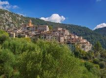 Historisch heuveldorp van Peillon, Frankrijk Stock Foto's