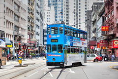 Historisch Hong Kong Tram Bus in Centraal District stock foto
