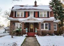 Historisch huis op de winterochtend Royalty-vrije Stock Foto