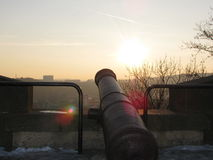 Historisch kanon op de borstweringen Åpilberk Stock Afbeelding
