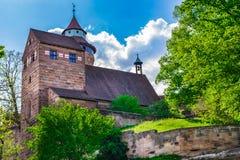 Historisch Kasteel Kaiserburg van Nuremberg, Duitsland stock foto