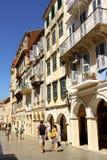 Historisch kwart van de Stad van Korfu, Griekenland Royalty-vrije Stock Afbeeldingen