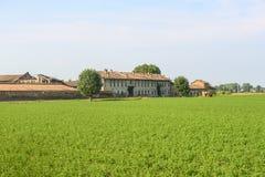 Historisch landbouwbedrijf dichtbij Pavia royalty-vrije stock afbeelding