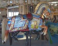 Historisch Marcus Illions Horse op de B&B-Carrousel Stock Afbeelding