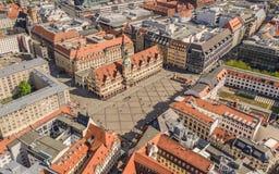 Historisch marktvierkant in Leipzig stock afbeeldingen