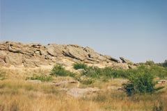 Historisch monument in de Steengraf van Zaporozhye de Oekraïne Royalty-vrije Stock Foto's